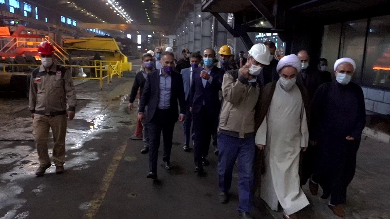 بازدید آیت الله فلاحتی از کارخانه فولاد گیلان